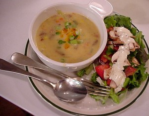 Three Cheese Soup with Salad