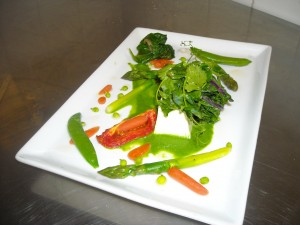 Panna Cotta with Spring Vegetables