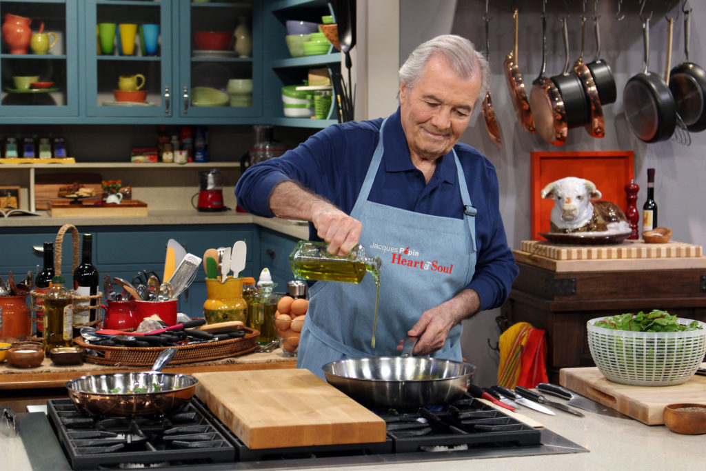 Jacques Pépin cooking on the set of Heart & Soul