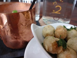 Moscow Mule Cocktail with Chicken Fried Olives