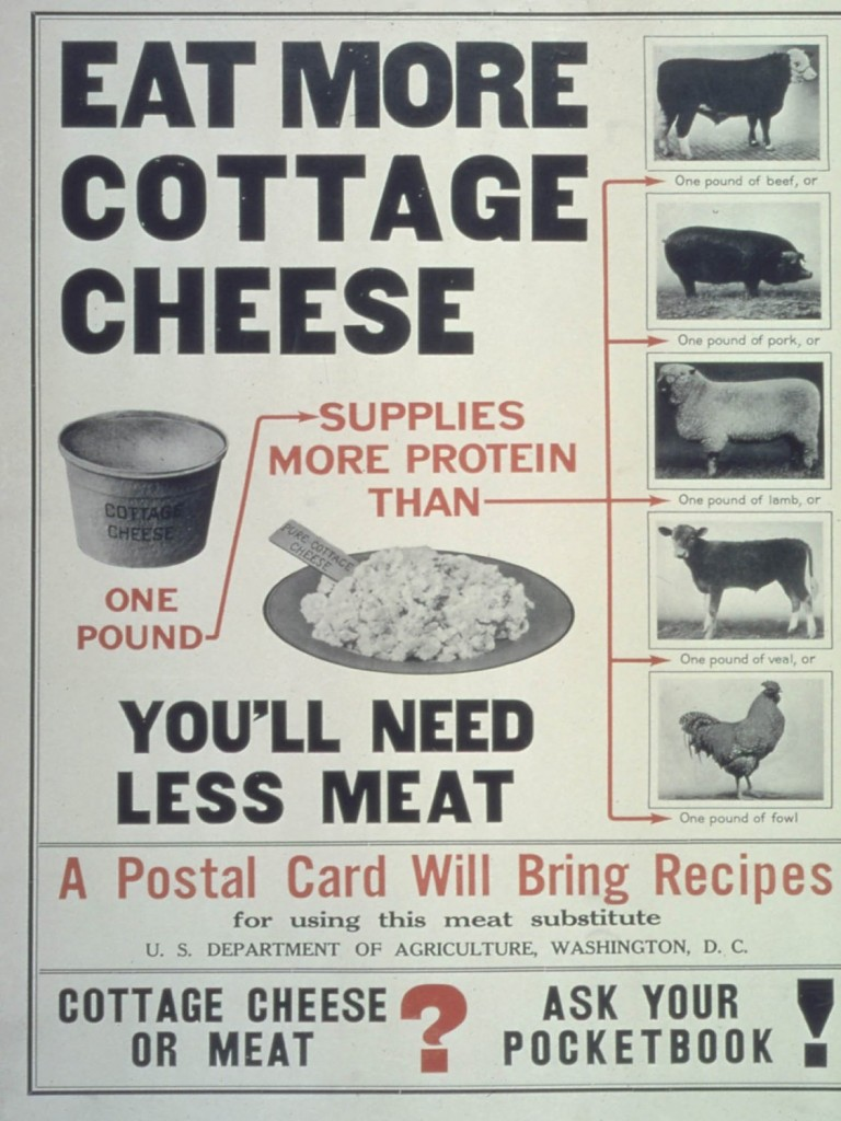 Poster encouraging public to eat less meat.